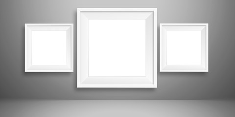 blank picture photo frame template set isolated on grey wall white blank sheet of paper on the light grey background, mock-up illustration (poster, picture frame)