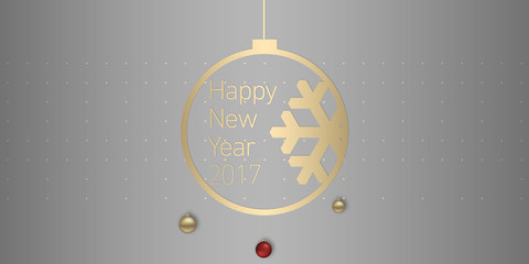 illustration of happy new year Merry Christmas 2017. gold and grey colors place for text christmas balls