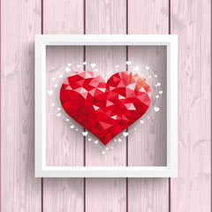 Low Poly Heart Pink Wood Frame