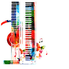 Colorful synthesizer and acoustic guitar with music notes vector illustration. Music instruments background. Design for poster, brochure, invitation, banner, flyer, concert and festival