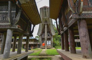 Tongkonans, casas tradicionales en Tana Toraja, Sulawesi, Indonesia