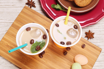 Iced coffee for couple on the table