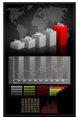 Set elements of infographics. World Map, graphs and Information Graphics. vector