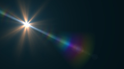Lens Flare light  over Black Background. Easy to add  overlay or screen filter over Photos  Wall mural