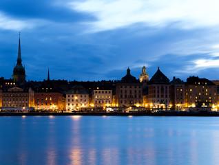 Quay night in Stockholm. Sweden. 03.08.2016