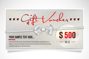 Elegant silver gift voucher with bow