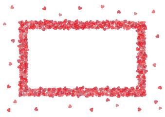 Valentine Hearts Rectangular Frame Greeting Card Template