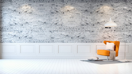 Modern loft interior  ,living room,  white wood flooring, yellow armchair and white lamp on bright gray bricks wall  background , 3d render