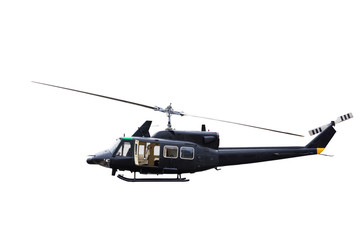 military helicopter isolated on white background.