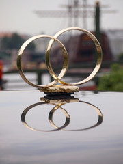 Wedding rings on the car roof