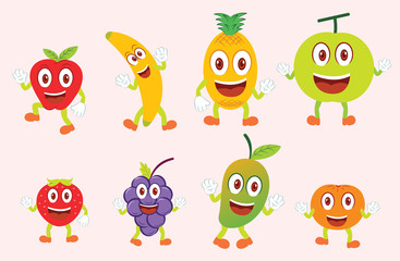 Eight Funny Colorful Fruits Character in a Set or Collection. Apple, Banana, Pineapple, Melon, Strawberry, Grapes, Mango and Orange Cartoon Illustration. Each on Separate Layer.