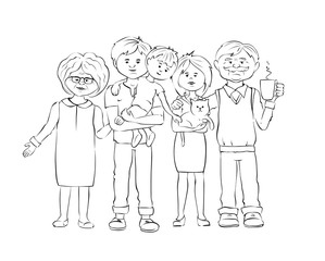 United family / Graphic vector illustration with mother, father, grandmother, grandfather, child and cat