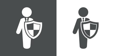 Icono plano hombre con escudo gris y blanco