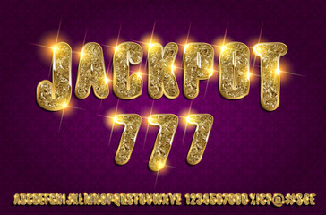 Jackpot 777. Golden glowing alphabet
