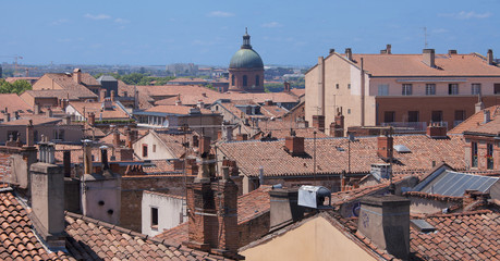 Roofs of Toulouse city in France