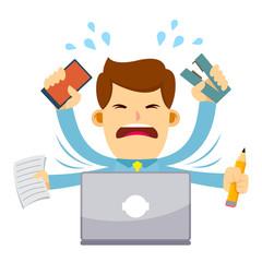 Businessman Feeling Stressed Working Behind Laptop