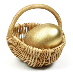 Easter Gold egg  in basket cart. White background isolated.