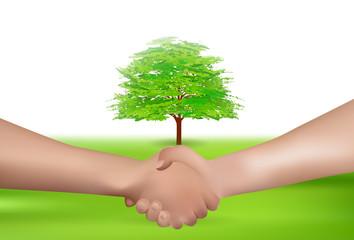 手 握手 木 背景