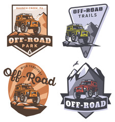 Off-road suv car monochrome logo, emblems and badges.