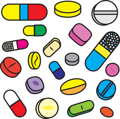 Collection Of Bright Cartoon Vector Drugs and Pills