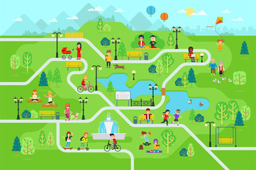 Rest in the park map infographic elements in flat vector design. People spend time relax in nature. Men, women and children rest, jog, ride the bicycle, skateboard. Park map with tree, lamp, bench