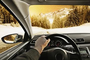 car interior and road