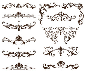 Oriental ornaments borders decorative elements with corners curls Arab and Indian patterns and frame on a white background