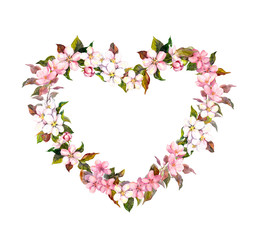 Floral wreath - heart shape. Pink flowers. Watercolor for Valentine day, wedding in vintage boho style