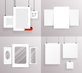Mock Up Set Frames Boxes Paper Big Little Realistic Text Poster Icon Template Design Vector Illustration