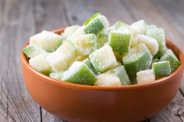 Frozen cubes of zucchini in bowl