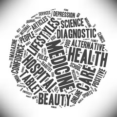 Medicine and health. Cloud of words in the form of a ball. Vector illustration.