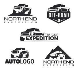 Modern suv pickup emblems, icons and logos.