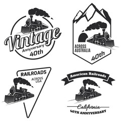 Retro train logo, emblems and icons.