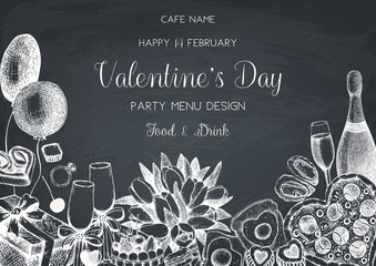 Valentine's day greeting card or invitation design. Hand drawn holiday elements. Vector sketched food and drinks illustration. Vintage menu template on chalkboard