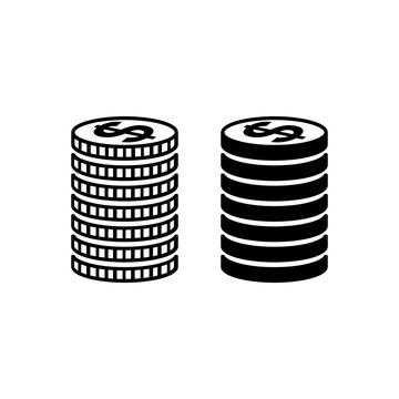 Stack of US dollar coins. Piled coins with dollar signs with different edges. Vector Illustration