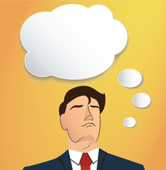 Portrait of businessman thinking with cloud chat box background
