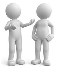 zwei weisse Männchen beim Unterhalten
