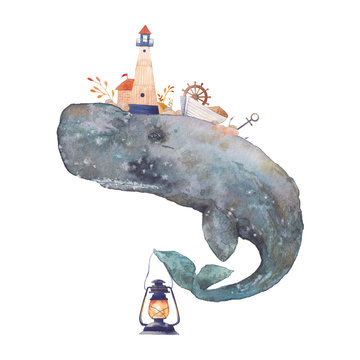 Watercolor creative cachalot poster. Hand painted fantasy sea whale with lighthouse,lantern,anchor, plants, wheel, old boat, stones isolated on white background. Vintage style nautical art