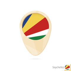 Map pointer with flag of Seychelles. Orange abstract map icon.