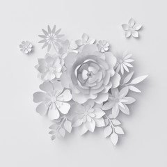 3d render, digital illustration, white paper flowers, floral background