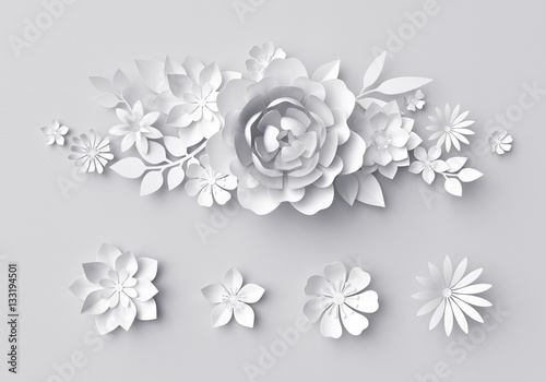 """3d Render, Digital Illustration, White Paper Flowers"