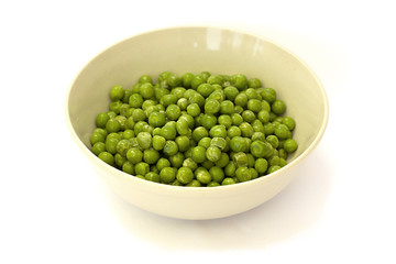 frozen peas in a bowl on a white background