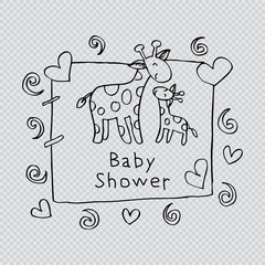 Baby shower card. Hand drawing illustration.
