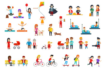 People rest in the park vector flat design isolated on white background for infographic creation. Students, kids, children, women, men, adult, grandparents in colorful clothes do activities, walk.