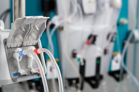 Hemodialysis bloodline tubes in dialysis machine