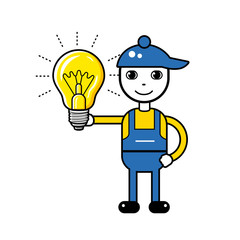 Man electrician character holding a glowing light bulb.