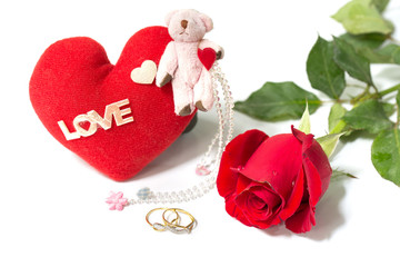 Red rose and red heart and diamond ring for love in Valentine da