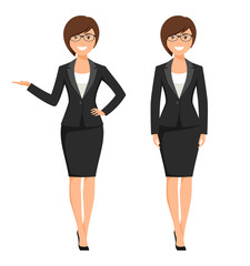 Vector illustration of a young cartoon style smiling businesswoman