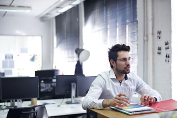 Caucasian businessman in a contemporary office