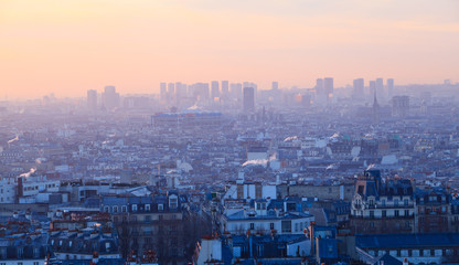 Sunset view of beautiful city of  Paris from Montmartre, France